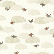 Doodle Days by Makower UK - 5472 - Birds on a Cream Cloudy Background - 1876_Q - Cotton Fabric